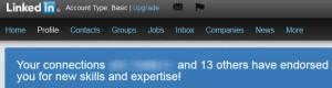 Searching Linkedin endorsements
