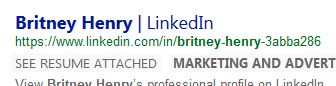 Linkedin Profile at Bing
