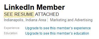Invisible Profile of Linkedin Member