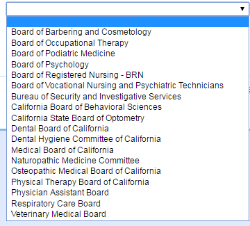 CA Breeze list of license types